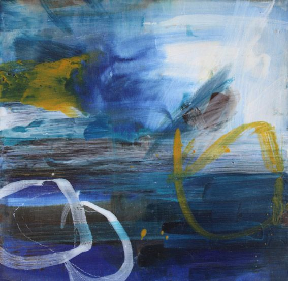 Blue yellow and white abstract with circles