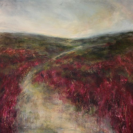 Dramatic landscape with pink heather