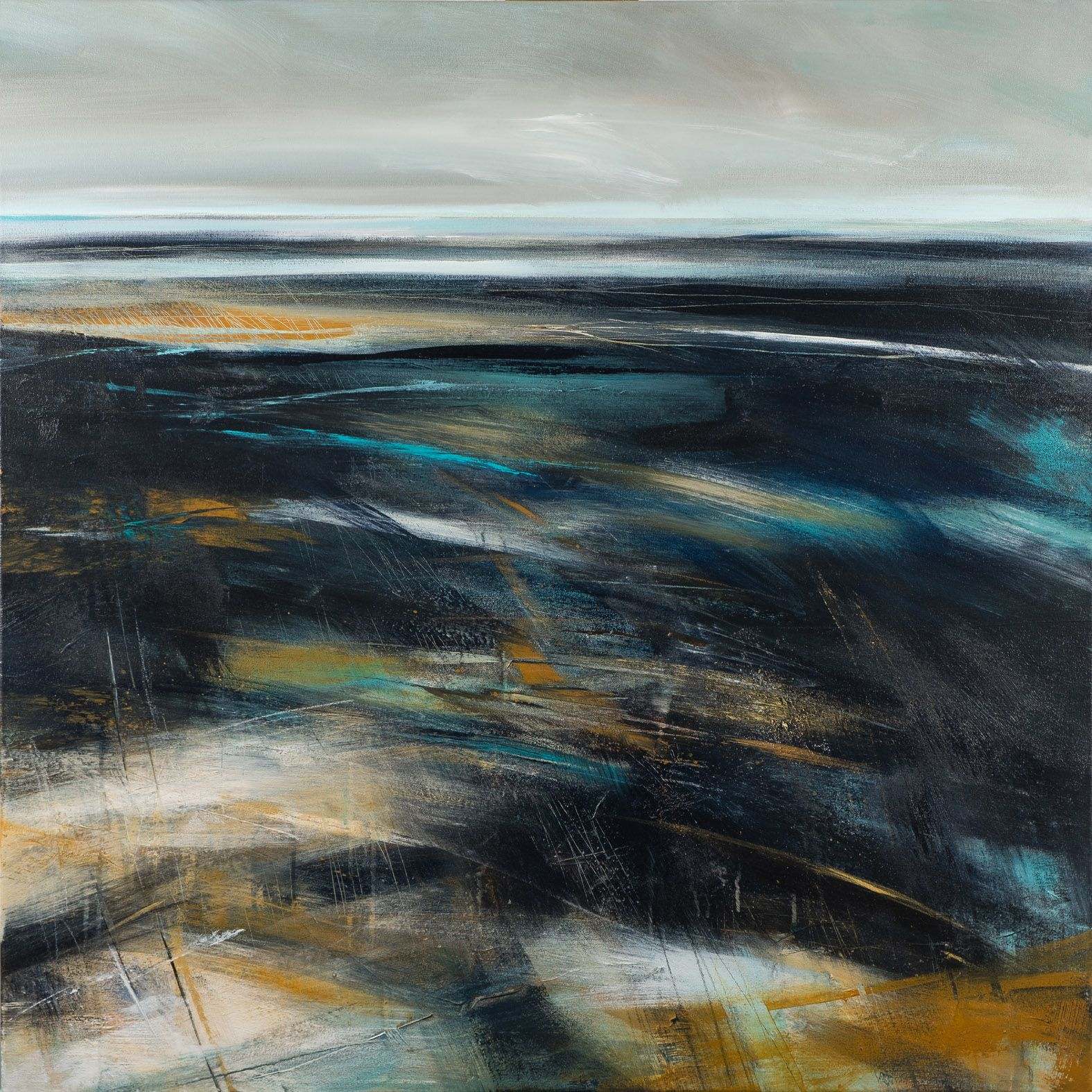 Black and ochre abstract beach painting