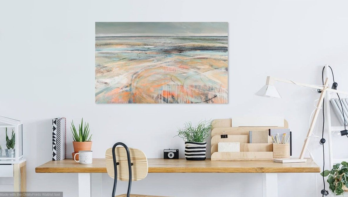 Abstract seascape in pale peach colours in office