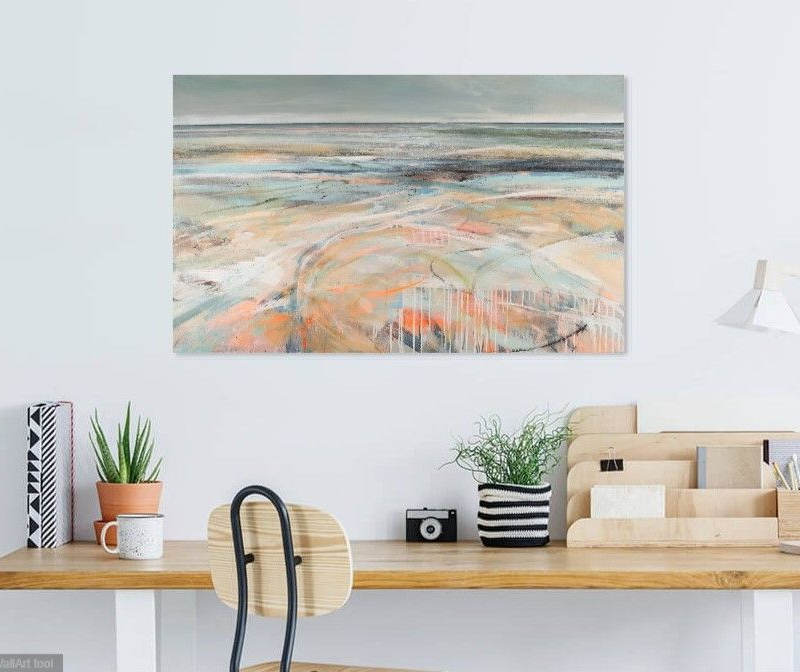 pale orange abstract beach on office wall above desk
