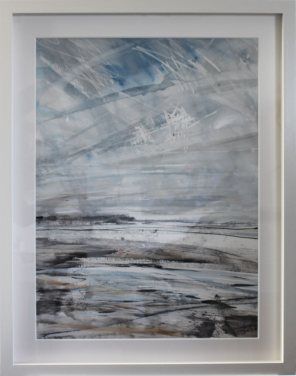 Cornish dramatic sky and beach on paper