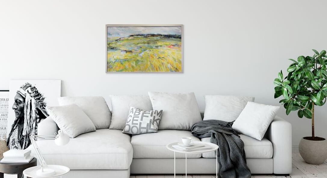 Yellow impressionist  landscape painting shown in bedroom setting