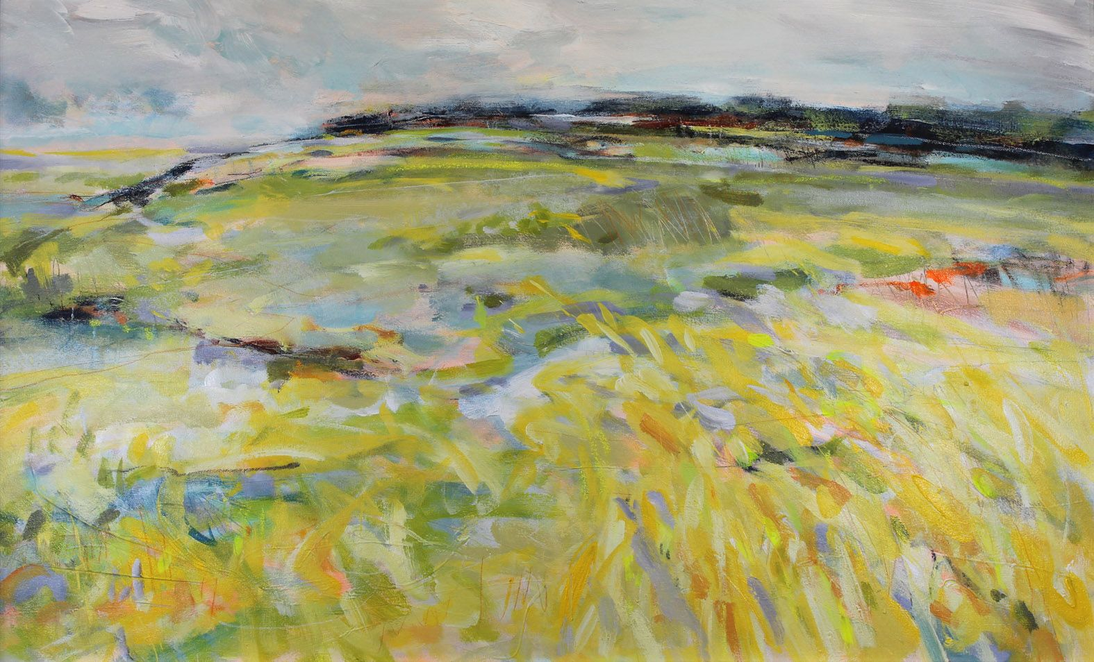 Modern impressionist style painting of yellow fields