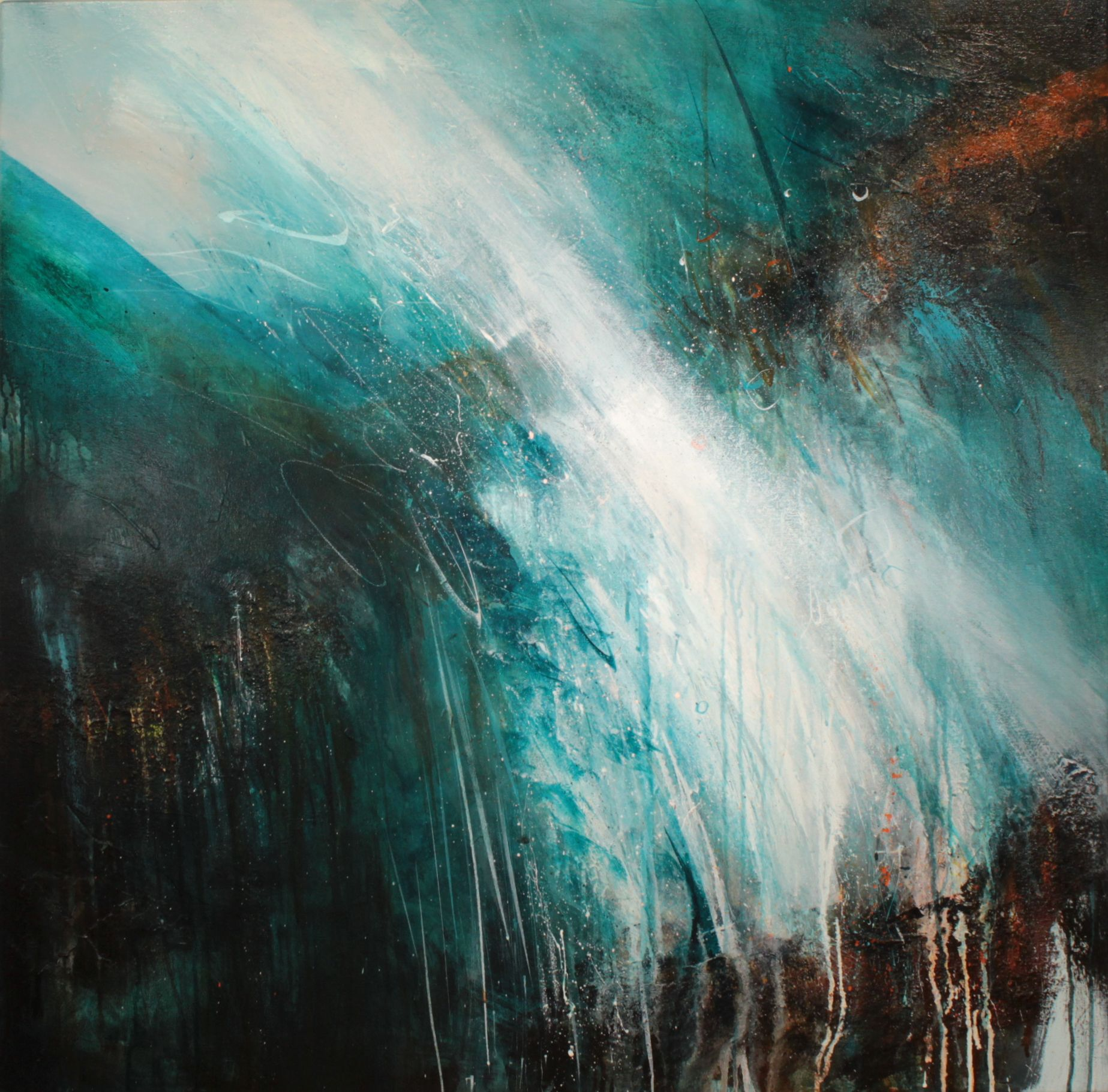 abstract painting with strong diagonal in turquoise and white with rusted rock areas