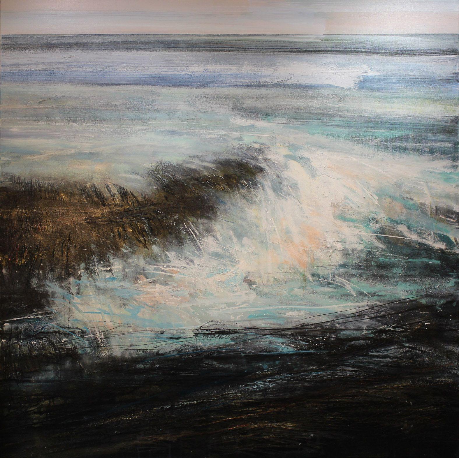 large painting of wild rocks and crashing waves