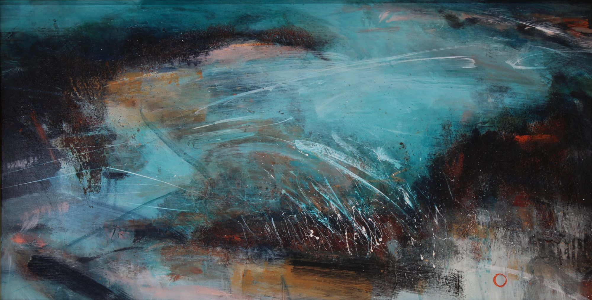 Abstract turquoise blue and rust sea and rocks
