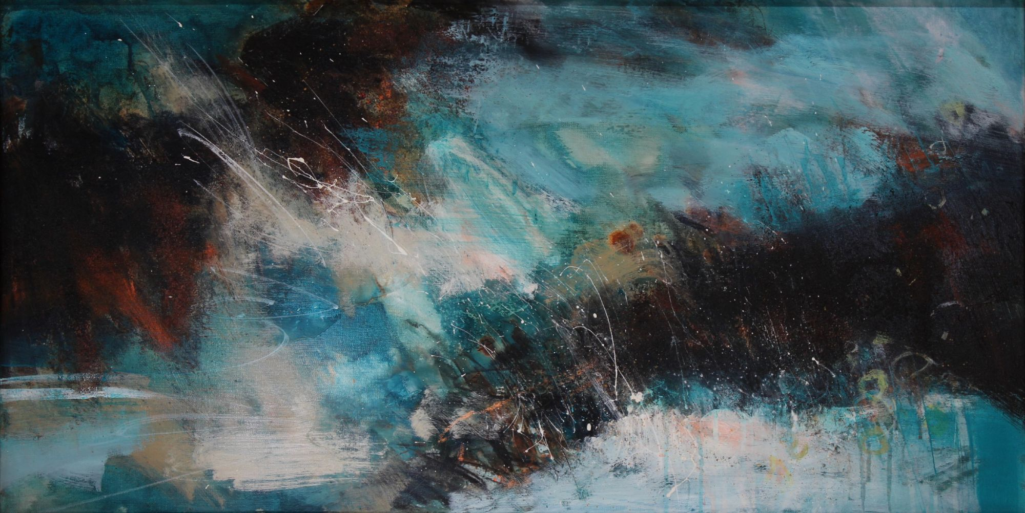 abstract turquiose white and rust painting of sea and rocks above a chestnut leather sofa