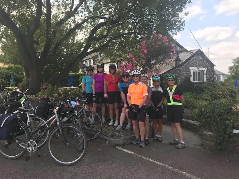 Cycle club at The Greyhound ladies