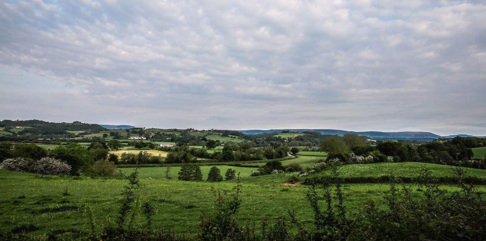 View across Usk valley on Flood Route