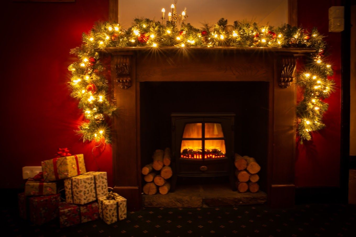 Xmas Victorian fireplace open fire