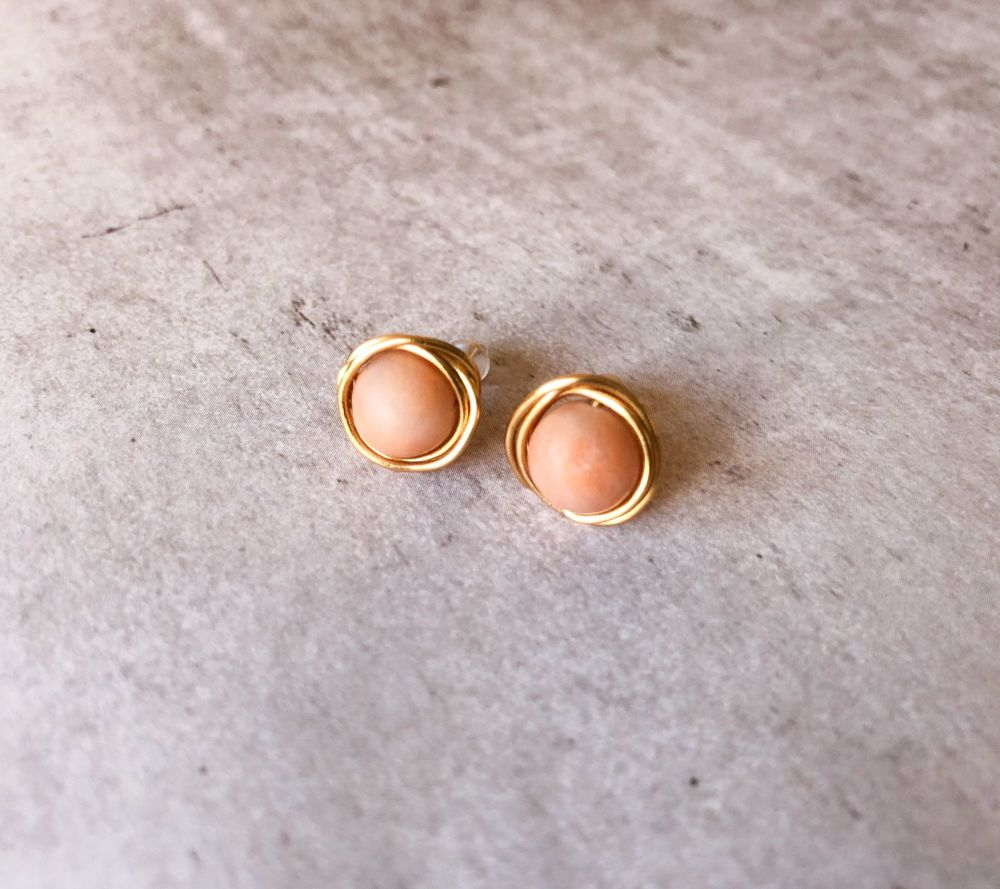 Peach Aventurine 'Ninho' Stud Earrings