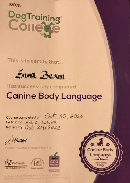 Canine Body Language Certificate