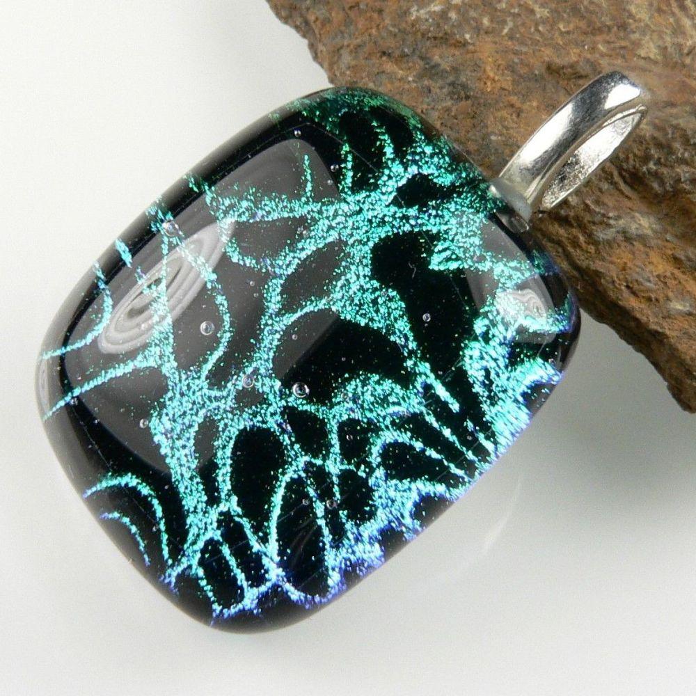 1046 Genuine Dichroic Glass Stylish Fancy  Shape Dichroic Glass Jewelry 13 Gms Dichroic Glass Sterling Silver Pendant DTP