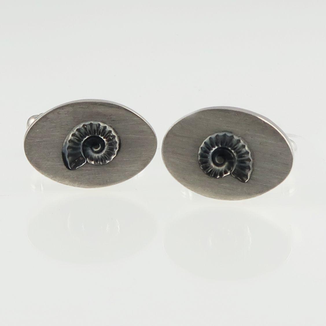 ammonite cufflinks; silver cufflinks