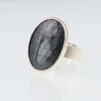 Silver sapphire ring oval