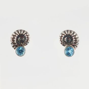 Ammonite studs with Swiss blue topaz