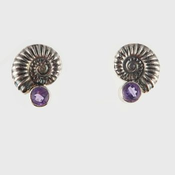 Ammonite studs with amethyst