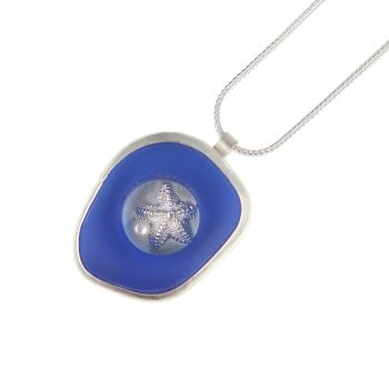 Rockpool pendant - cobalt glass