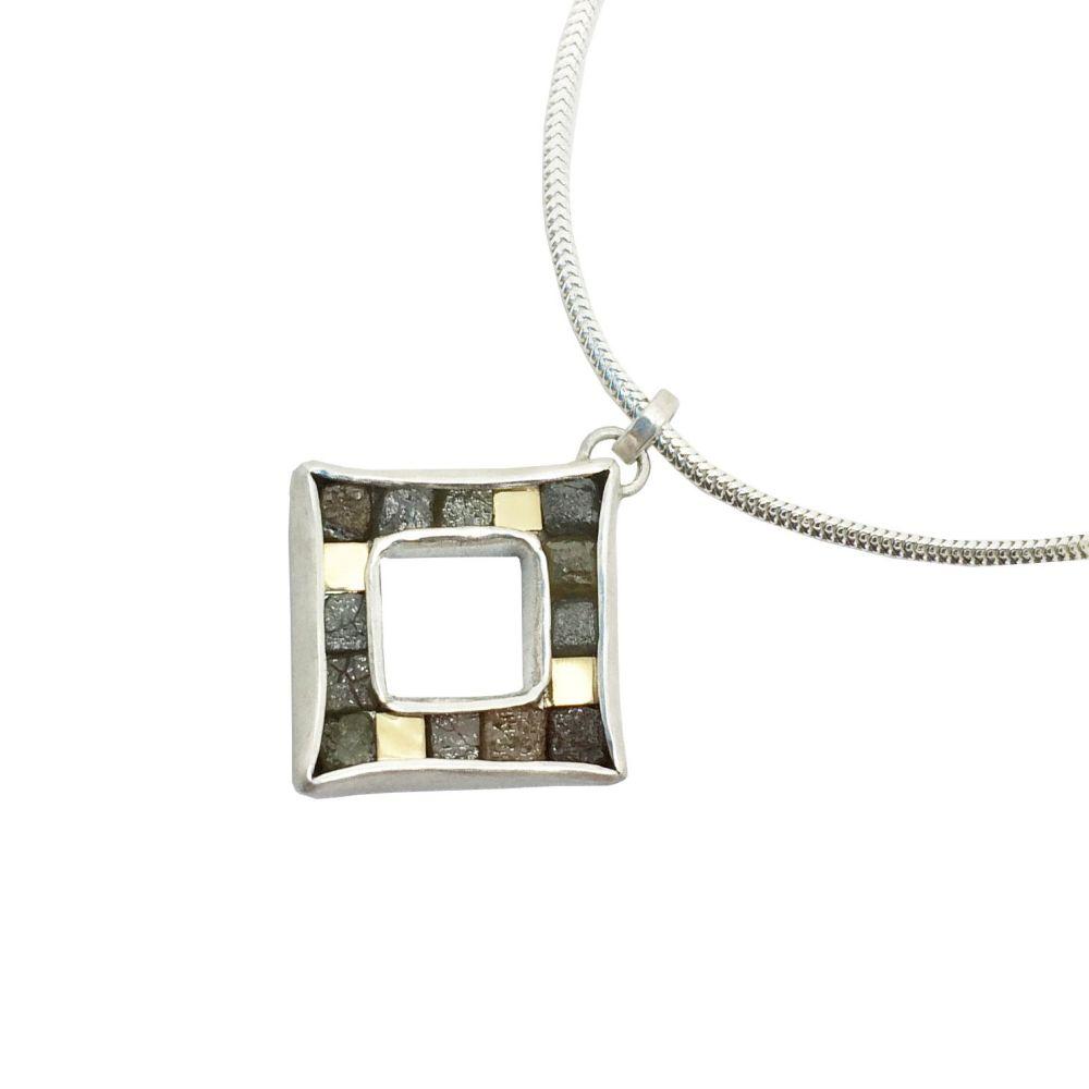 Rough diamond cubist pendant