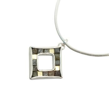 Rough diamond and yellow gold cubist pendant