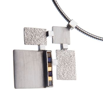 Rough diamond and yellow gold large cubist pendant