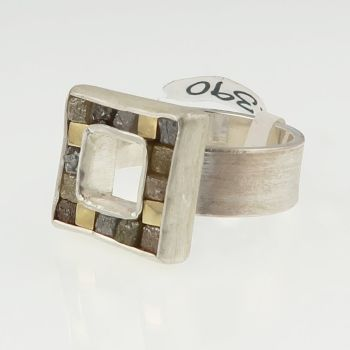 Rough diamond and yellow gold cubist ring