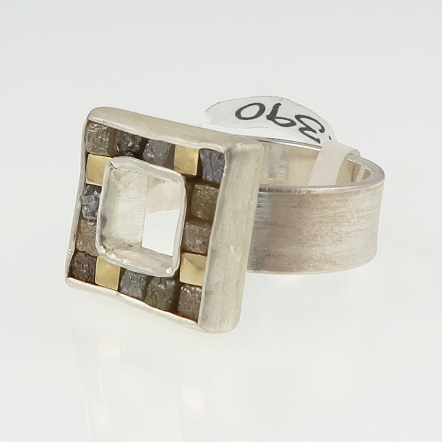 Rough diamond cubist ring