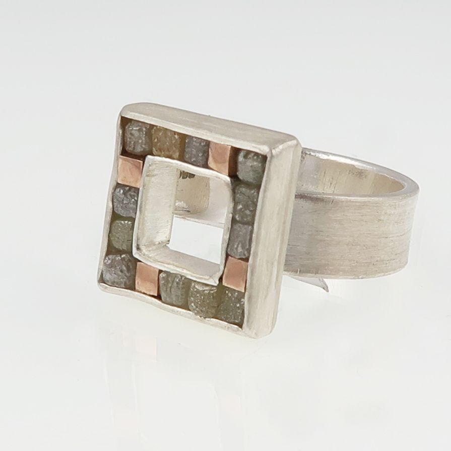 Rough diamond and red gold cubist ring