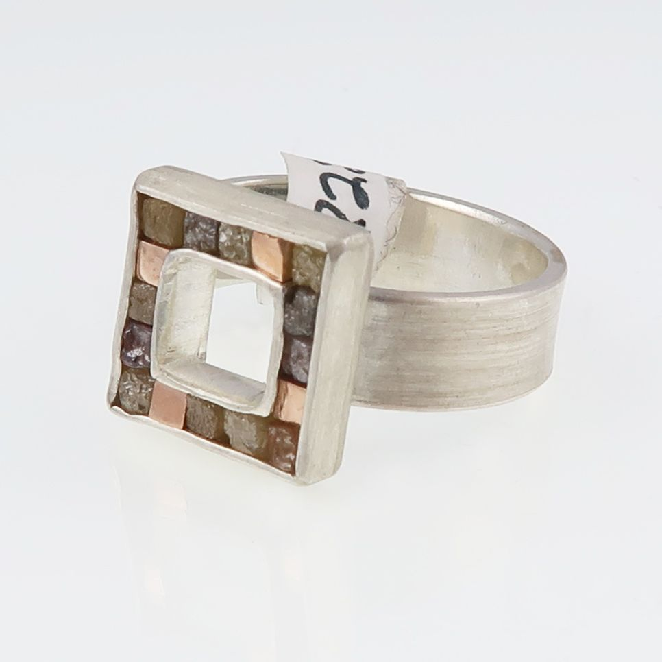 Rough diamond cube and red gold cubist ring
