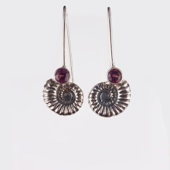 Ammonite drop earrings with garnet