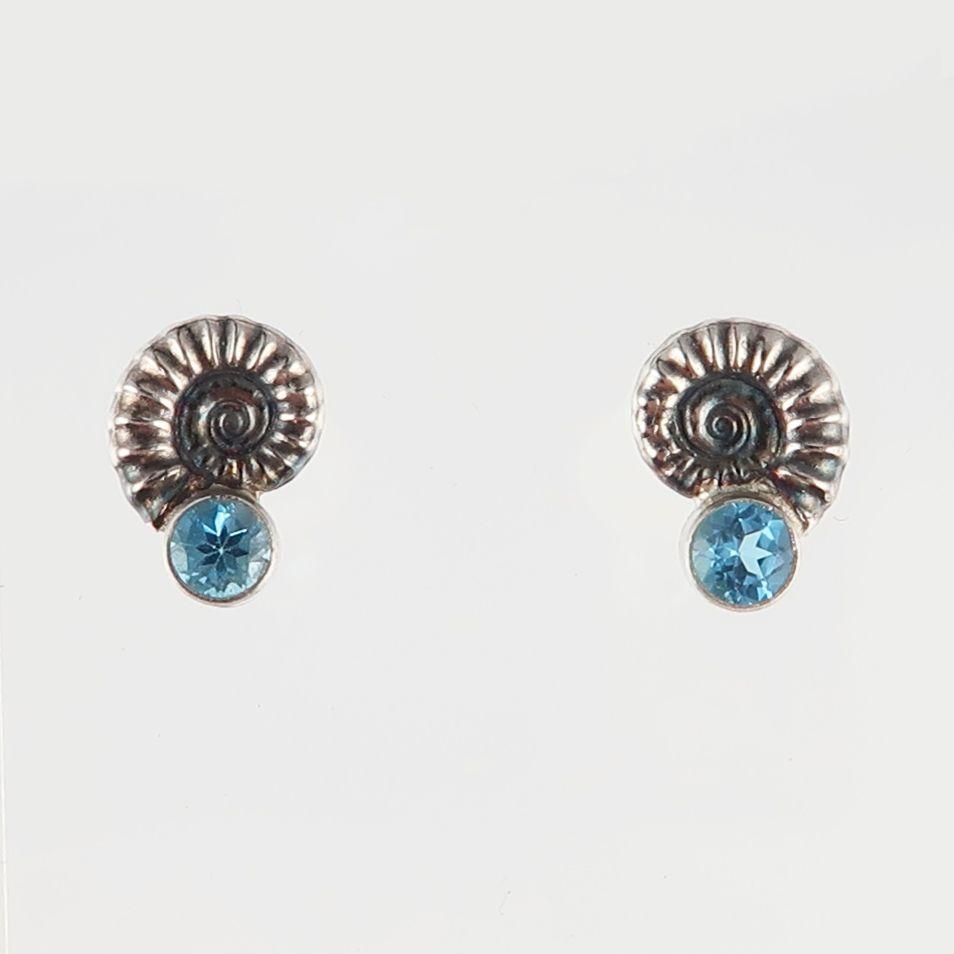 ammonite jewellery; silver ammonite earrings; topaz