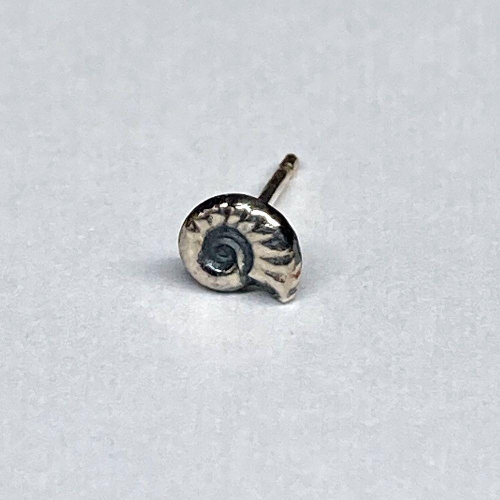 Tiny single ammonite stud earring