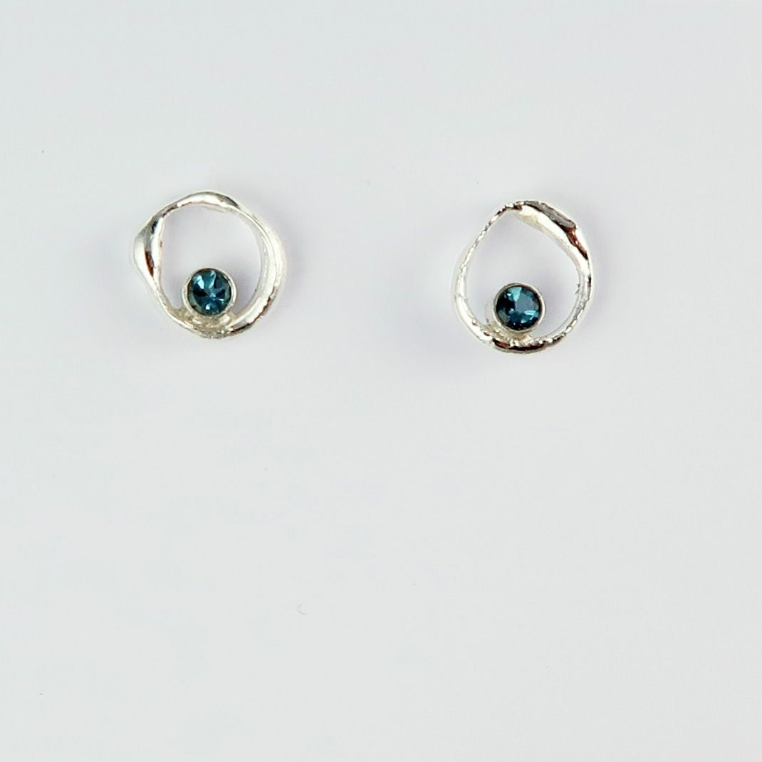 Rockpool bubble studs with London blue topaz