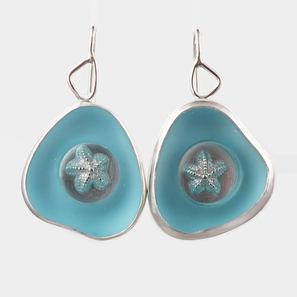 Rockpool earrings with turquoise glass