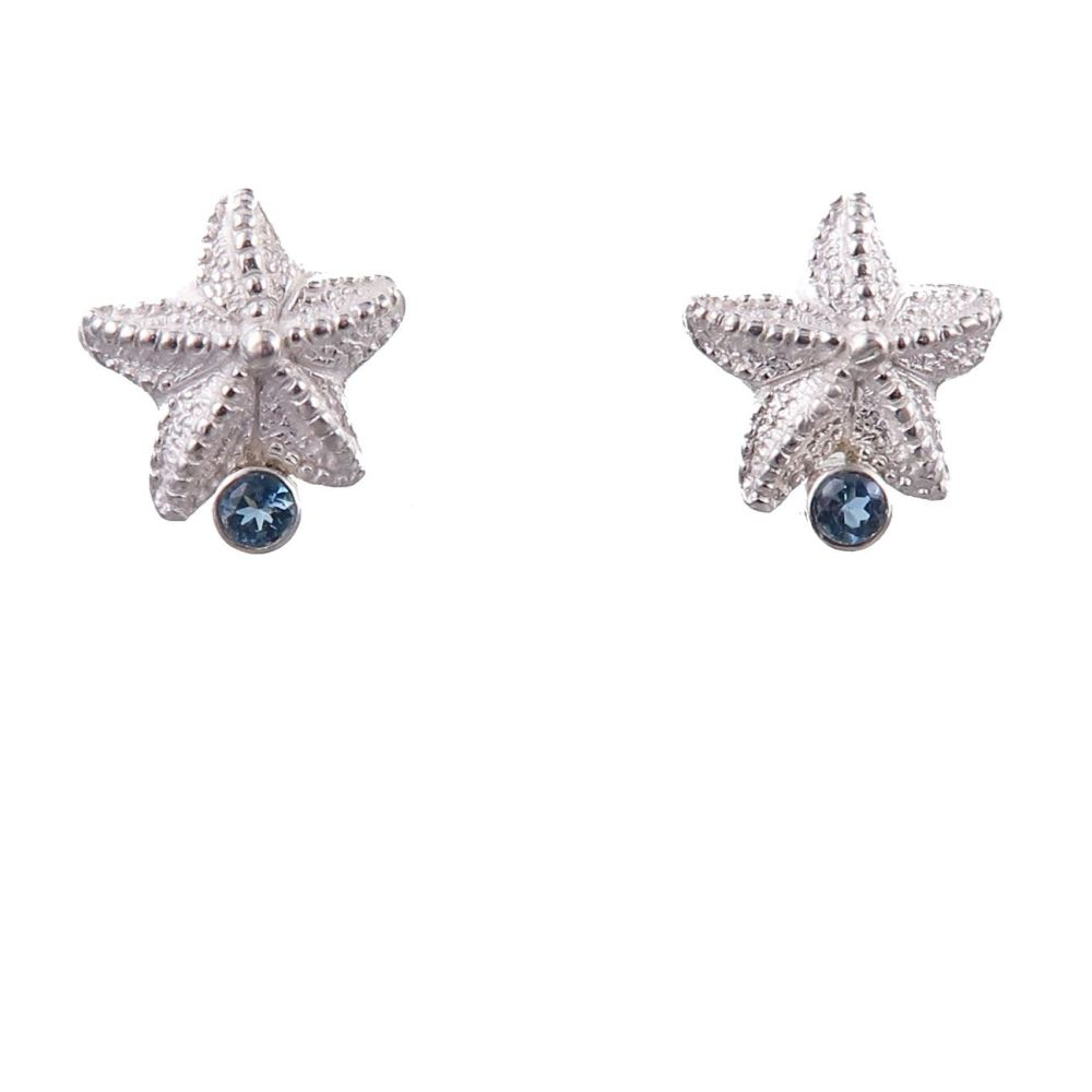 Rockpool starfish studs with aquamarine