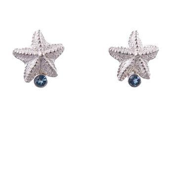 Rockpool starfish studs with aquamarine