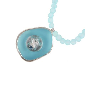 Rockpool pendant - turquoise glass