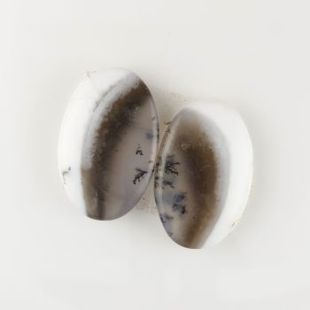 Pair of dendritic agate cabochons