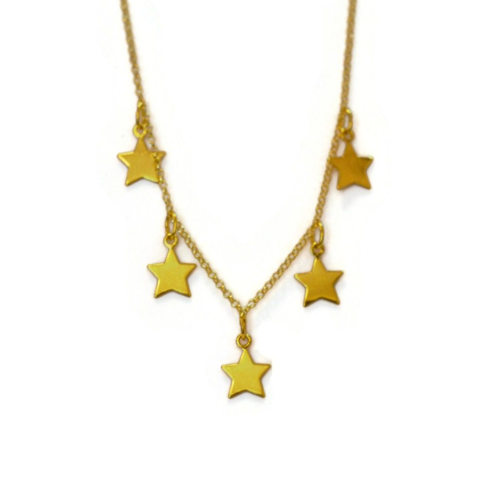 Five Star Gold Vermeil Full Charm Necklace