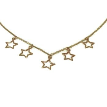Five Star Gold Vermeil Open Charm Necklace