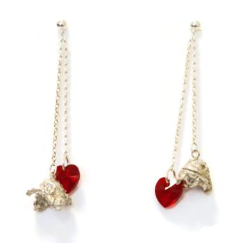 Perfectly Popped Double Dangling Earrings in Siam Red