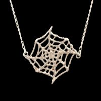 Horror Inspired One of A Kind Sterling Silver Cobweb Necklace (Spider web)
