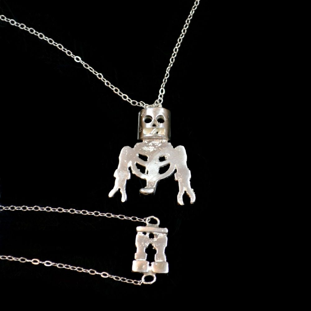 Sterling Silver Skeleton Necklace and Bracelet Set