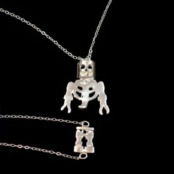 Horror Inspired One of A Kind Sterling Silver Skeleton Necklace and Bracelet Set