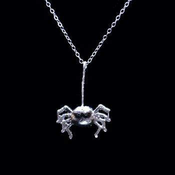 Horror Inspired One of A Kind Sterling Silver Spider Necklace