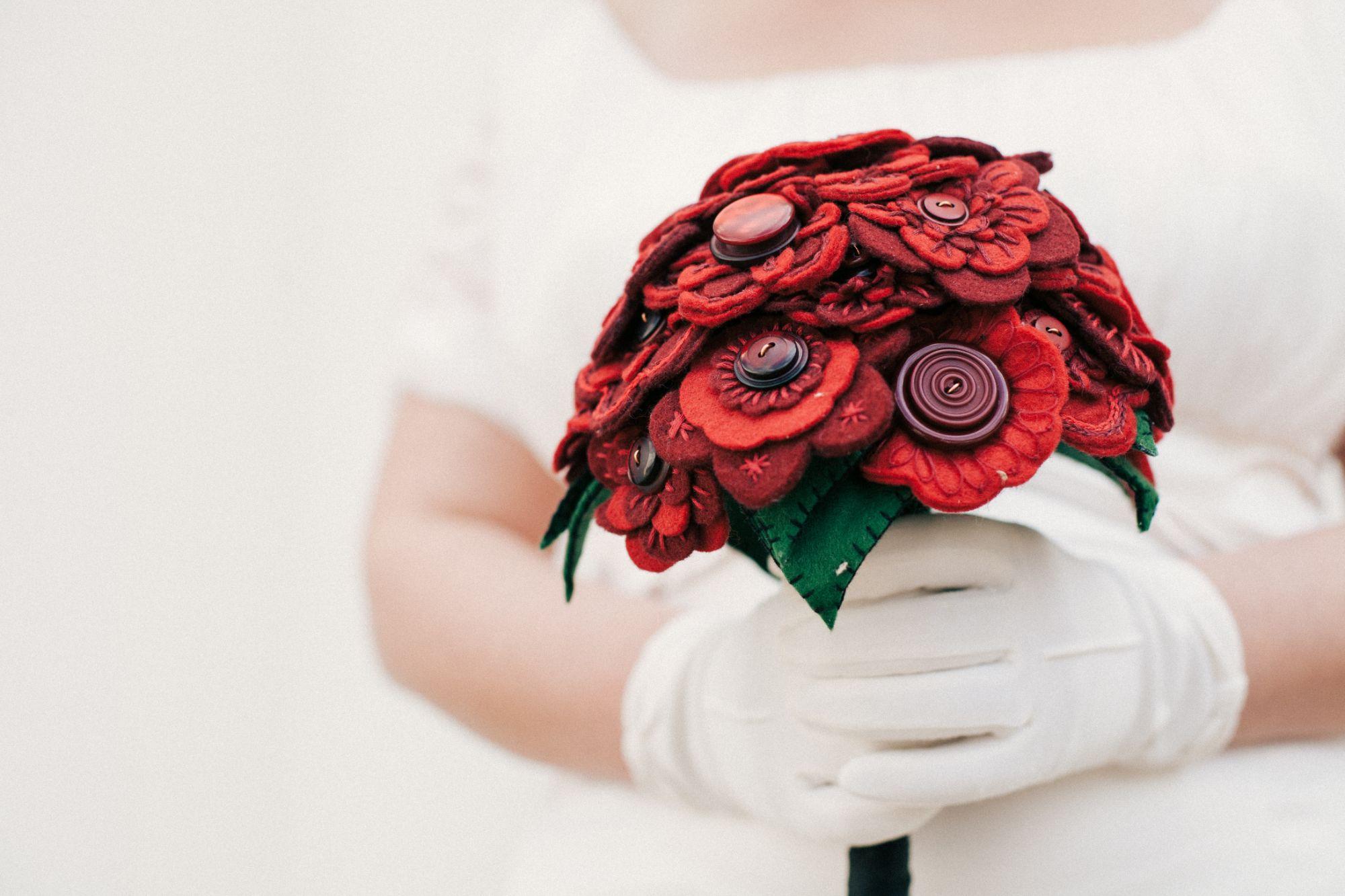 embroidered wedding bouquet