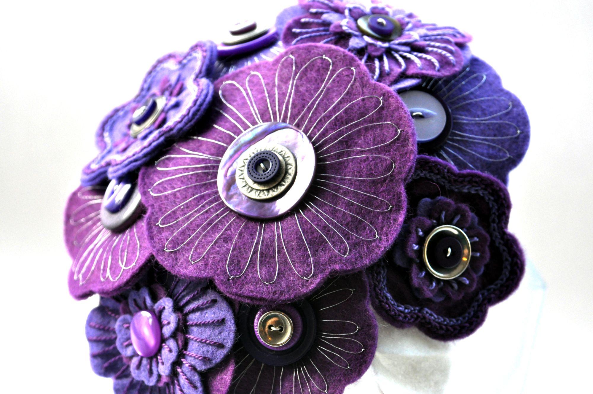 purple embroidered felt flower bouquet (1).JPG