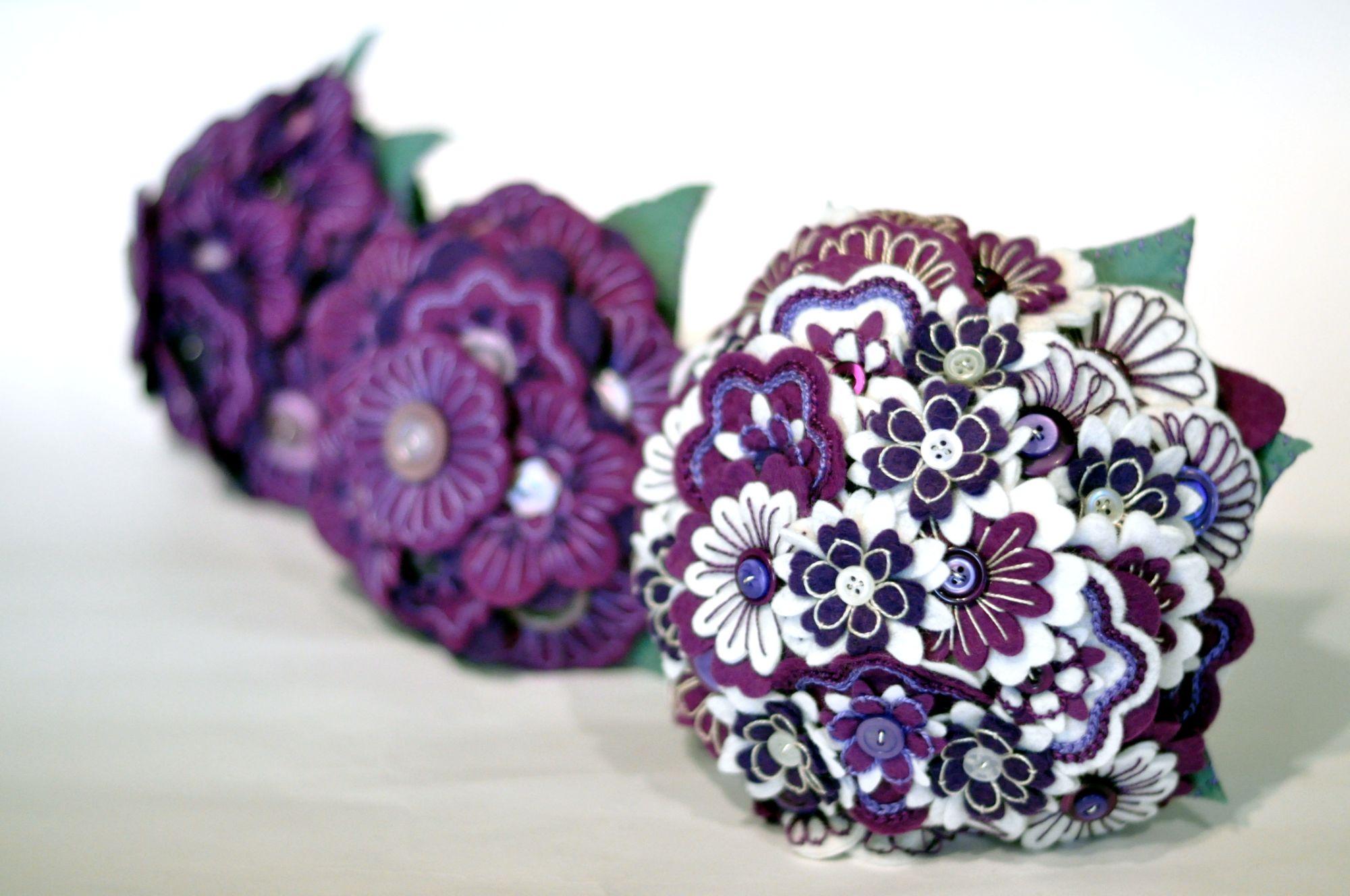purple embroidered felt flower bouquet (3).JPG