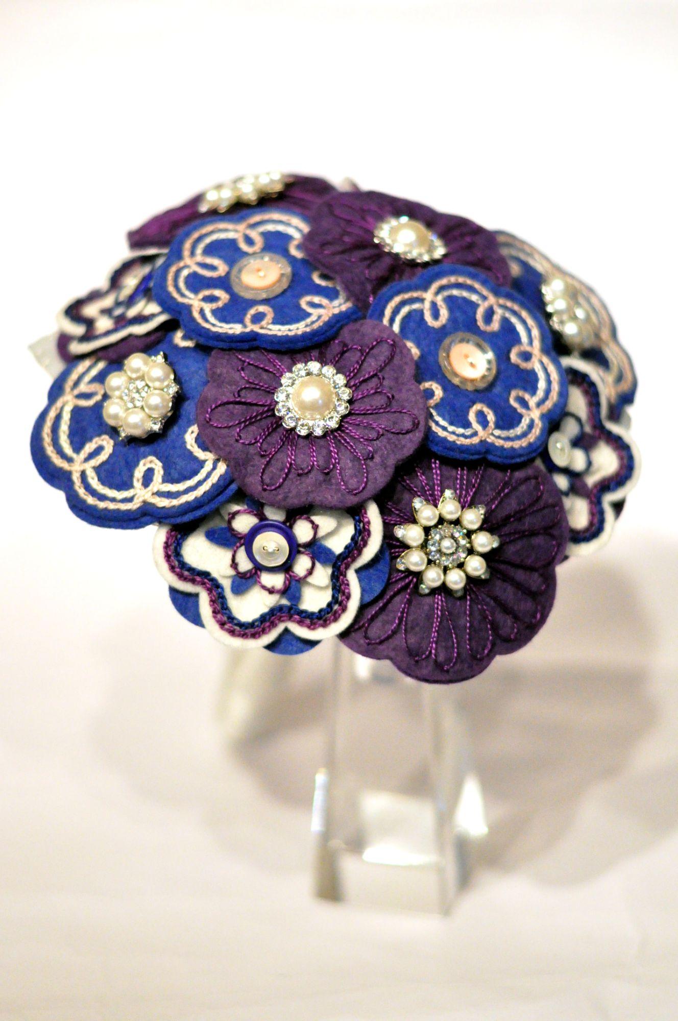 Blue and purple felt flower bouquet.JPG